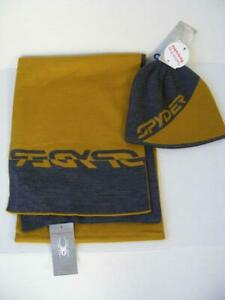 Spyder 2 PC Ski Hat with Scarf Set Reversible Marigold Gray Winter Knit NWT $80