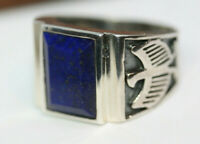 New Cast Men's 6 CT Faceted Natural Blue Lapis Lazuli 925 Silver Eagle Ring Sz 9
