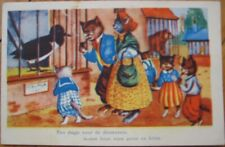 Dressed / Anthropomorphic Cats Visiting Bird at Zoo 1940 Postcard