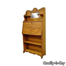 Antique Victorian Golden Oak Slant Drop Front Secretary Desk Bookcase w/ Mirror