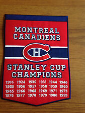 NEW 5 X 7 INCH MONTREAL CANADIENS STANLEY CUP CHAMPIONS BANNER IRON ON PATCH