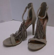 WOMENS MOSSIMO SUEDE LEATHER FRINGE HIGH HEELS, SIZE 8, SANDALS, SHOES