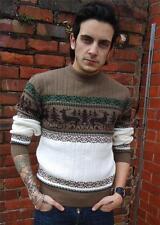 Para Hombre Reno Copo De Nieve Jumper noruego Knitwear Sweater VTG Xs