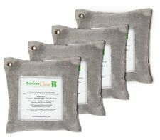 4 x 200g Natural Air Purifying Bags | Deodorizer Bamboo Charcoal Pouches, Silver