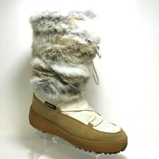 Oscar Sport Fur Boots Lace Up Brown Ivory Size 9 9.5 US 41 EU