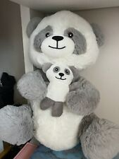 Grey Panda with baby Stuffed Teddy Bear Soft Toy