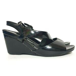 Django & Juliette Shoes Sz 40 Black Leather Open Toe Wedge Sandal Heel Straps