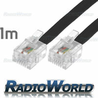 1M Metre RJ11 TO RJ-11 Cable Broadband Modem / Internet Lead Long DSL Black