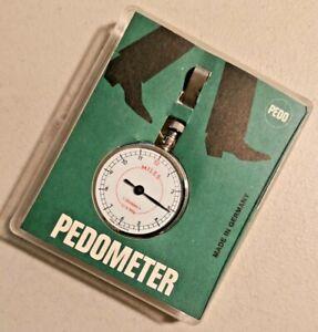 VINTAGE Pedo Pedometer SILVER TONE METAL W/BELT HOOK Made in Germany -- 3148