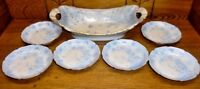 Antique Blue Floral & Butterfly Hand Painted Porcelain Ice Cream Set