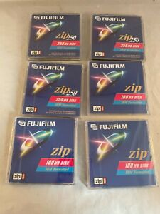 Lot of 6 New Old Stock Fujifilm Zip Disks - 3 250MB and 3 100MB Sealed Unopened