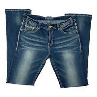 Rock & Roll Womens Cowgirl Pockets Bootcut Blue Denim Jeans Size 32X34