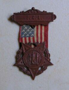 GAR Grand Army Union Civil War veteran badge medal
