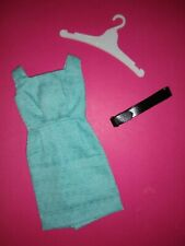 Vintage Ideal Tammy Htf Turquoise Blue Pak Sheath Dress & Black Belt - Near Mint
