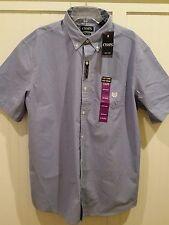 Chaps Shirt Button Down Collar Plaid Blue/White Check XXL/2X NWT MSRP $50