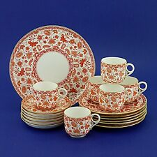 Six Antique Crown Derby Wilmot Rust Coffee Trios & Cake Plate(1880/90s)19 Pieces