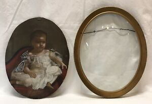 Antique 19th C Portrait Oil Painting Or Mezzograph Young Girl Gold Frame