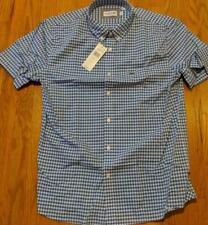 Authentic Lacoste Gingham Checked Button Up SS Woven Shirt Light Blue 42 Large