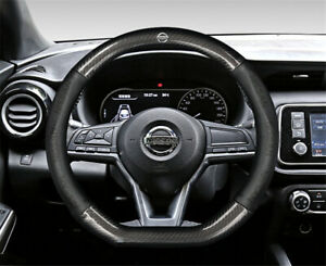 """15"""" Car Steering Wheel Cover Genuine Leather For Nissan Black New"""