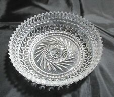 """Bowl Clear Glass Etched Salad Candy Pickles Olives Cheese 6.5""""Diameter"""