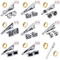 Metal Rhinestone Neck Tie Ring Tie Clip Holder Clasp Mens Bar Pin Wedding Access