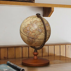 Vintage Work Table Decor Home Office Educational Model Globe Tellurion World Map
