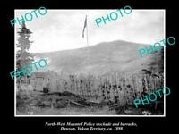OLD LARGE HISTORIC PHOTO OF NORTH WEST MOUNTED POLICE BARRACKS, DAWSON 1898