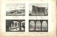 Stampa antica NAPOLI Villa Reale Chiostro San Martino e altre 1834 Old print