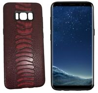 Stylish RED Snake Skin PU Leather Back Cover Case For Samsung Galaxy S8