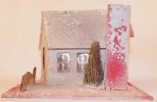 Vintage Christmas House Train Yard Putz Display White Pink Green Roof Tree #116