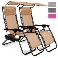 2 Pcs Zero Gravity Folding Lounge Beach Chairs W/Canopy Magazine Cup Holder