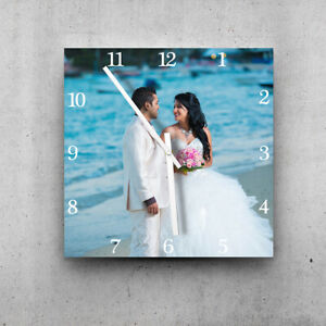 PERSONALIZED GIFT! LARGE SIZE 44cm square photo printed wall clock. White hands