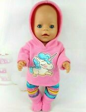 """Dolls clothes for 17"""" Baby Born doll~BIG UNICORN CANDY PINK HOODIE~PANTS~BOOTS"""