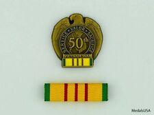 Vietnam War 50th Anniversary Pin & Mounted VSM Ribbon Bar Hat Ball Cap Lapel