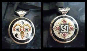 Antique Amulet Protect Against Evil,Gold,Silver,Onyx,Ganesha,Yin Yang,Handmade