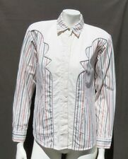 WRANGLER Women's Ivory Pink Gray Navy Stripe Cotton Western Shirt Blouse Top S