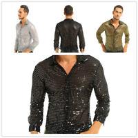Mens Shiny Sequined Disco Dance Shirt See Through Mesh T-Shirt Nightclub Costume