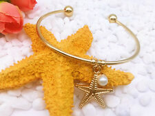Fashion Charm Jewelry Woman Gold Open Bangle Pearl Starfish Pendant Bracelet