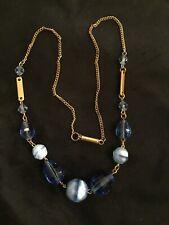 Exquisite Vintage Art Deco Blue Glass Necklace #5960
