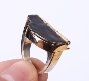 PIANO WITH TREBLE CLEF .925 SILVER & BRONZE RING SIZE 6 #34593
