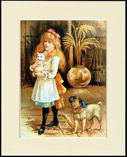 PUG AND LITTLE GIRL CARRYING A WHITE CAT LOVELY DOG PRINT MOUNTED READY TO FRAME