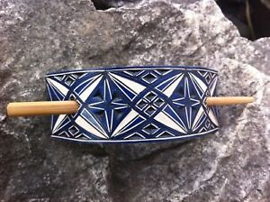 Geometric blue hand carved leather hair barrette