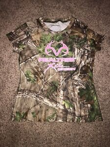 Realtree Girls Youth M 8-10 Xtra Green Camo Pink Polyester Short Sleeve T-Shirt