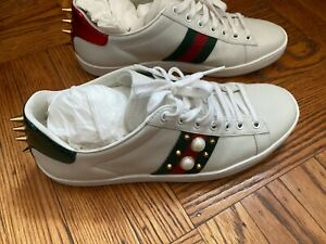 GUCCI Ace Studded Spikes & Studs leather Sneakers White $710 - Size 39.5 US 9