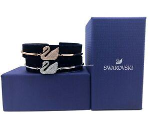NEW Authentic SWAROVSKI Rose Gold Sparkling Crystal Pave Swan Bangle Bracelet