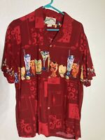 Mens Large Red Vacation Style Short Sleeve Button Shirt