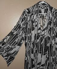 M by Marc Bouwer BF Large BLACK White Sheer Poly Flutter Kimono Sleeve Top