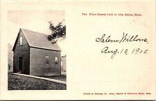 FIRST CHURCH BUILT IN SALEM , MA. , DATE ON CARD 1905 ~ FAST 📫