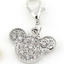 LOVELY SPARKLY CLEAR RHINESTONES MINNIE MOUSE HEAD CLIP ON CHARM -SILVER PLATE