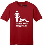 Happy Wife Happy Life CC Funny Mens Soft Shirt Marriage Husband Gift Z2